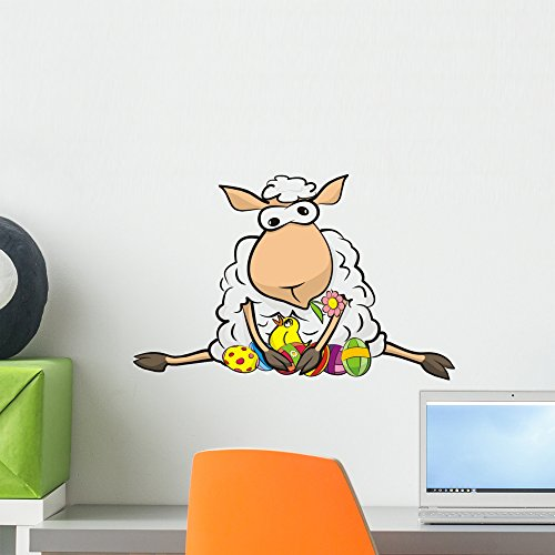 Happy Easter Peel - Wallmonkeys WM306298 Surprised Sheep-Happy Easter Peel and Stick Wall Decals (18 in W x 12 in H), Small