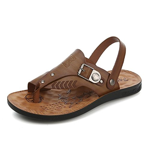 Antiscivolo Uomo Traspiranti Leather Colore Marrone da Scarpe Dimensione Scarpe Marrone pantofole Wagsiyi Outdoor EU 40 spiaggia Sandalo Pantofole Marrone Ewz0nCq