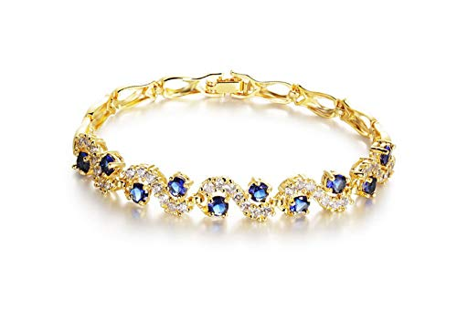 SOVSEFD Women Bracelets 18K Gold Plated Birthstone Crystal Elegant Multi-Gemstone and Diamond Cubic Zirconia Tennis Bracelet for Women Girls Ladies (Style #3)