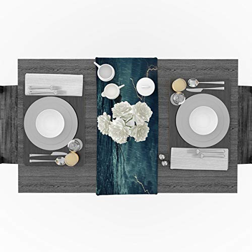 (Cotton Linen Table Runner Sailboat Sailing in the Roaring Waves Thunderstorm Cotton Linen Table Runner Party Supplies Home Decorations for Kitchen Dining Room Wedding & Everyday Use 14 x 72 inch)