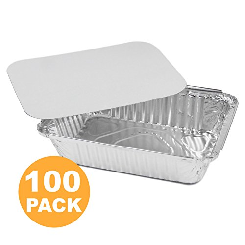 Rectangular Disposable Aluminum Foil Pan Take Out Food Containers with Flat Board Lids, Steam Table Baking Pans, 32 oz, 2.25 lb, Quart [100 Pack]