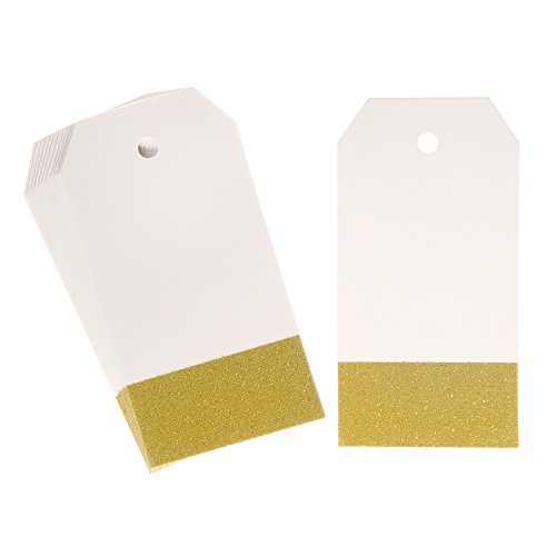 Darice Gold Glitter Rectangle Paper Tags, 2 x 3 inches, 15 Pieces