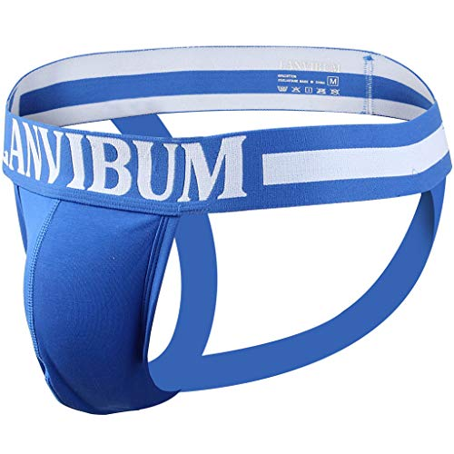 OMINA Clearance Sale Mens Briefs Low Rise Letter Printed Jockstrap G String Thongs Bikini Sexy Underpants Blue