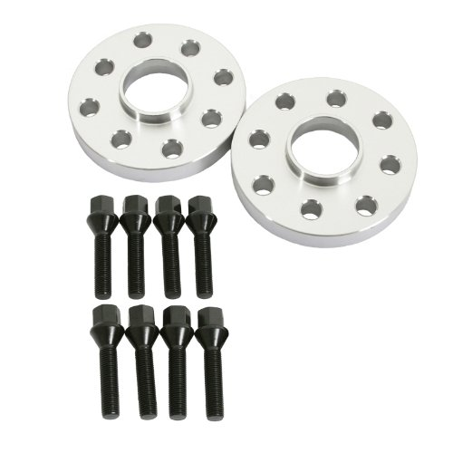 2pcs 15mm Hubcentric Wheel Spacers (4x100 4x108 Dual Bolt Pattern, 57.1mm Bore) Includes 8pcs Black 12x1.5 Lug Bolts - for BMW E30 Audi 4000 Coupe Quattro VW Golf Corrado Jetta Passat