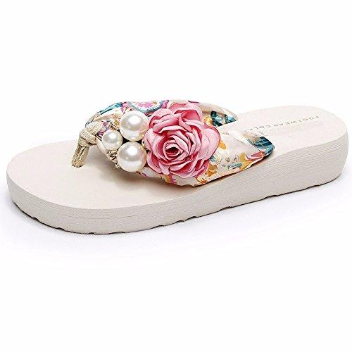 LIUXINDA-XZ Liuxinda - Zapatillas de verano para mujer, edición coreana gruesa, diseño de flores White/powder
