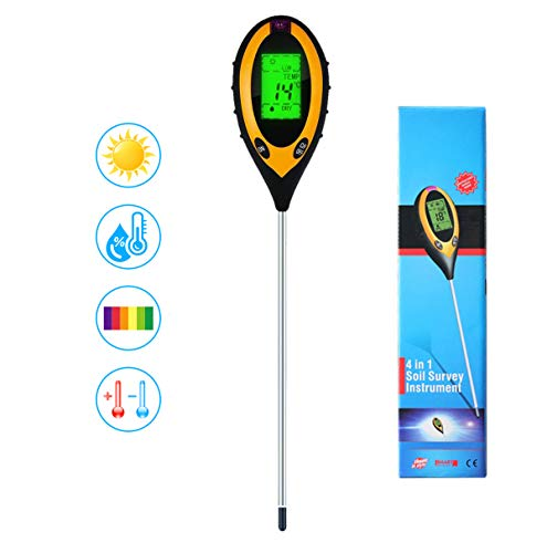 4 in 1 Soil PH Meter Pro, Digital Soil Test Kit for Soil Moisture/PH acidity/Light/Temperature Tester, Plant Tester for Garden, Farm, Lawn, Indoor or Outdoor Use, High Accurate & Easy Read LCD Display