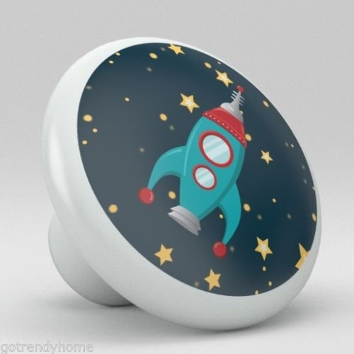 Spaceship Rocket Stars Nursery Ceramic Knobs Pull Closet Dresser Drawer 2009 ()
