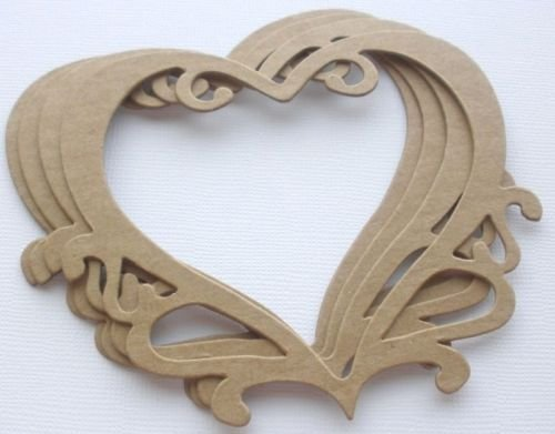 {4} ORNATE HEART FRAME - Accent Frames Chipboard Die Cuts - 3 1/2