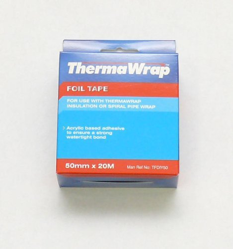 Thermawrap 20m x 50mm x 20 x 30m Foil Tape Acrylic Based Adhesive to Ensure Strong Watertight Bond YBS Insulation 5060078160025