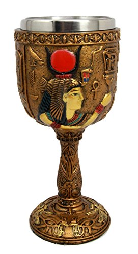 Ancient Egyptian Hathor - Atlantic Collectibles Ancient Egyptian Goddess of Motherhood Hathor Resin 6oz Wine Goblet Chalice With Stainless Steel Liner