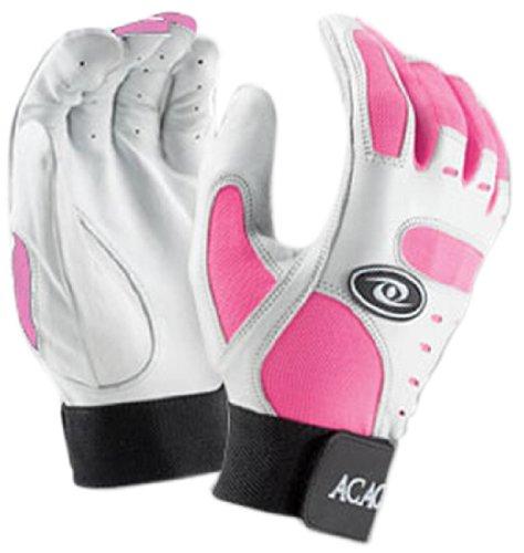 Acacia Home Run Baseball Batting Gloves, White/Pink, Youth Small