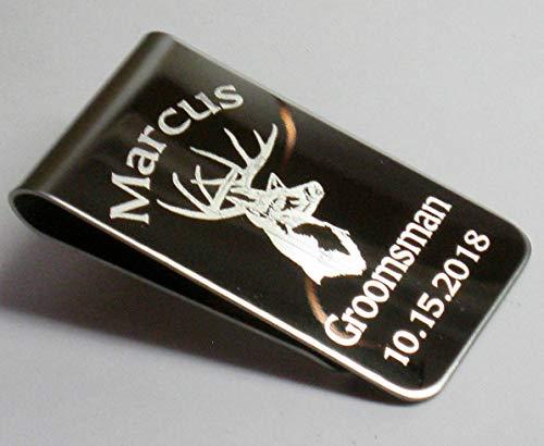 - Money Clip Stainless Steel White Tail Buck Head Engraved Wedding Gift Keepsake Engraved
