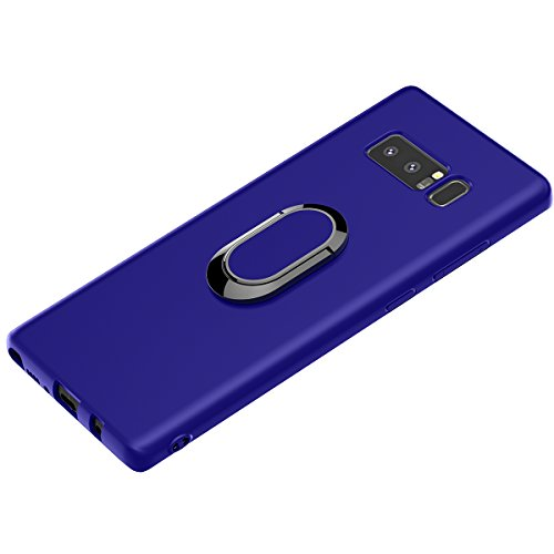 Galaxy Note 8 Case, WATACHE Ultra Slim Thin Form-Fitted Premium Flexible TPU Shockproof Protective Cover Case with Magnetic 360 Degree Rotating Ring Holder for Samsung Galaxy Note 8(Blue) ()