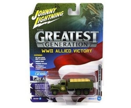 NEW DIECAST TOYS CAR JOHNNY LIGHTNING 1:64 THE GREAT GENERATION WWII ALLIED VICTORY - GMC CCKW 2 1/2 TON 6X6 (1:87) JLCP7068-24