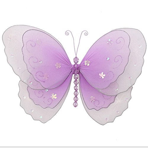 "Nylon Butterfly Large 13"" Purple Lavender Multi-Layered Hanging Mesh Butterflies Decorations - Butterfly Decor For Girls Bedroom, Baby Nursery, Home, Playroom, Wedding, Wall & Ceiling by Bugs-n-Blooms"