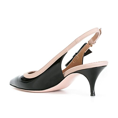 Low XYD Sandals Black Pumps Toe Kitten Shoes Women Bows Heel Party Dress Slingbacks Pointed For Trendy CSnxwq8Spr