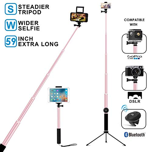 Bluetooth Selfie Stick with Tripod, Remote 59Inch