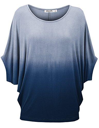 Love Dip Dye - WT1097 Womens Ombre Scoop Neck Half Sleeve Batwing Dolman Top XXXL NAVY