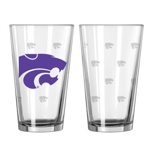 NCAA Kansas State Wildcats Satin Etch Pint, 16-ounce, (Ncaa Kansas State Wildcats Glass)