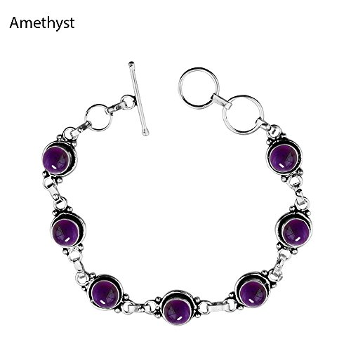 12.50Gms,4.50 Ctw Genuine Amethyst 925 Sterling Silver Overlay Handmade Fashion Bracelet (Ctw Amethyst Bracelet)