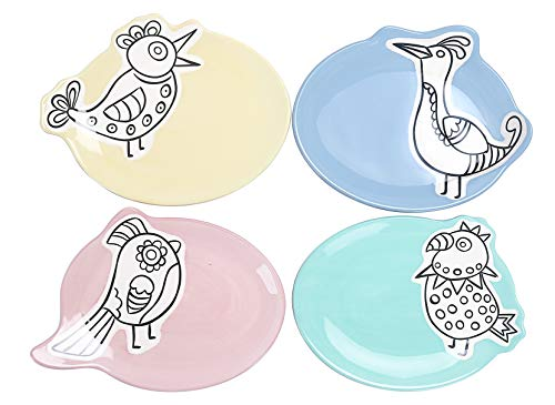 Bico Color Assorted Bird Ceramic Appetizer Plate,7 x 6 inch, Decorative Plates Set of 4, Microwave & Dishwasher Safe, For Dessert, Fruit, Cookie