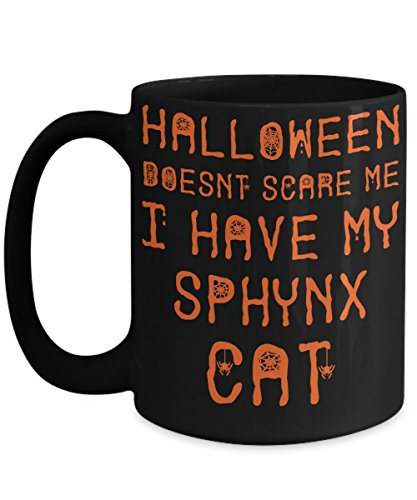 Halloween Sphynx Cat Mug - White 11oz Ceramic Tea Coffee Cup - Perfect For Travel And Gifts -