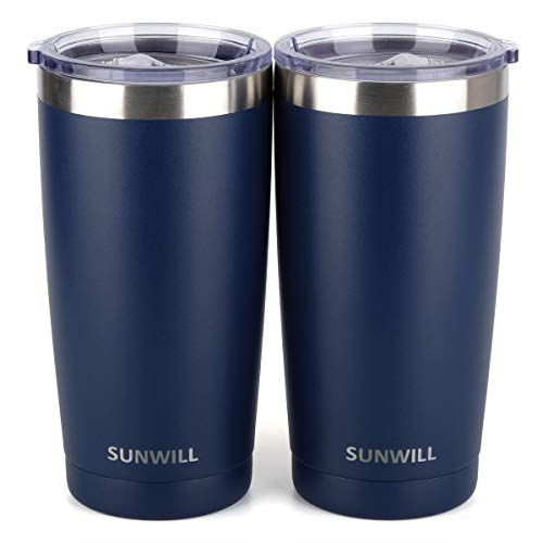 SUNWILL 20oz Tumbler with Lid (Powder Coated Navy Blue 2 pack), Stainless Steel Vacuum Insulated Double Wall Travel Tumbler, Durable Insulated Coffee Mug, Thermal Cup with Splash Proof Sliding -
