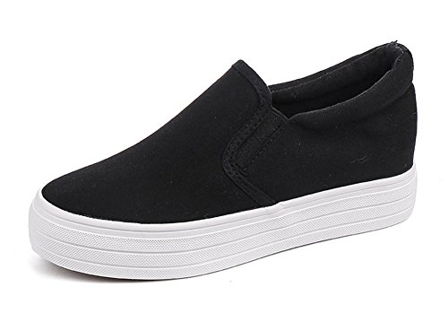 Aisun Women's Casual Round Toe Thick Sole Skateboard Hidden Wedge Platform Loafers Slip On Sneakers Shoes Black