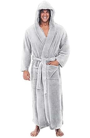 Alexander Del Rossa Mens Fleece Robe, Long Hooded Bathrobe, Small Medium Light Grey (A0125LGRMD)