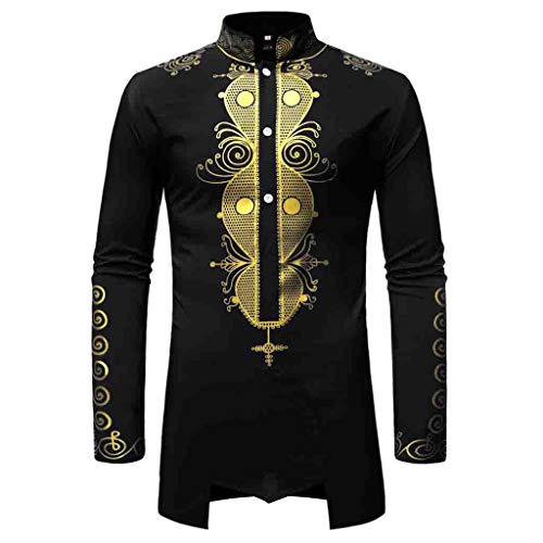 - iSovze Summer Fashion Men's Casual African Style Comfortable Print Long Shirt Black