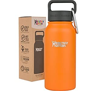Healthy Human 16 oz Water Bottle - Cold 24 Hrs, Hot 12 Hrs. 4 Sizes & 12 Colors. Double Walled Vacuum Insulated Stainless Steel Thermos Flask with Carabiner & Hydro Guide. Color: Orange Sherbet