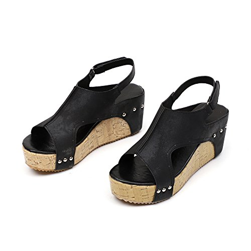 Haalife◕‿Cork Footbed Sandals Women Cutout Wedges Platform Shoes Casual Leather High Heels Sandal Black ()