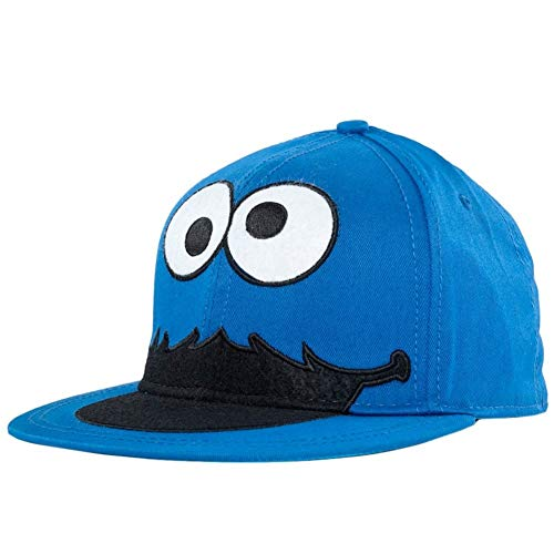 (Bioworld Sesame Street Cookie Monster Face Fitted Flat-bill Hat Blue  One)