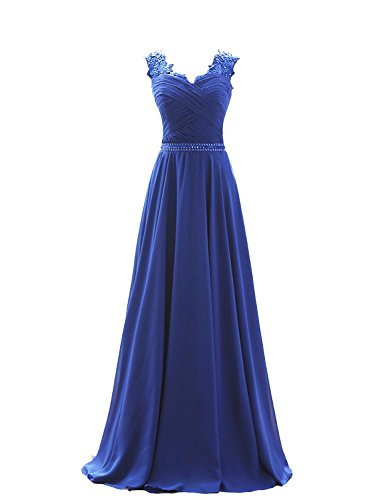 Damen Königsblau Abendkleider Carnivalprom Partykleider Lang Applikation V Ausschnitt Ballkleider Maxikleider Mit UqPO4w6