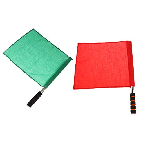 CUTICATE 2Pcs Linesman Flag Set - Green + Red - Volleyball Soccer Football Training Flag