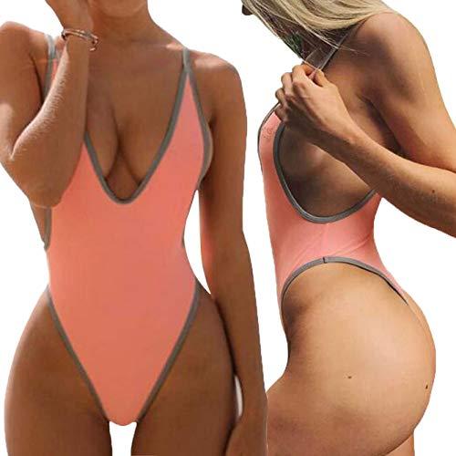 ALLureLove Swimsuits for Women Sexy Monokini Deep V One Piece Bathing Suits Backless Cheeky Swimwear Semi Thong Bikini (A-Pink, Medium) - Thong One Piece Swimsuits
