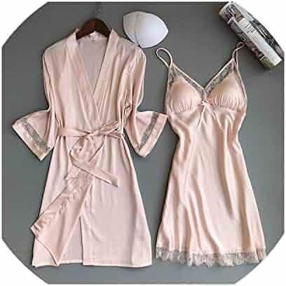 2b418d64f24 Soft Women Sleepwear Robe Silk Bathrobe Bridesmaid Robes Sexy Ladies  Nightwear Robe Set