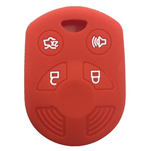 Ezzy Auto Red 4 Buttons Silicone Rubber Key Fob Case Key Cover Key Jacket Skin Protector fit for Ford