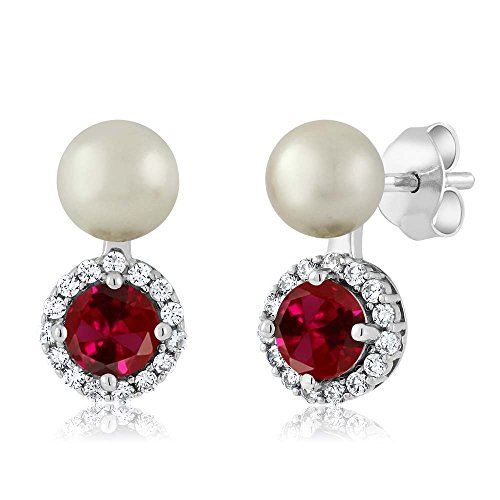 1.50 Ct Red Created Ruby Cultured Freshwater Pearl 925 Sterling Silver Earrings