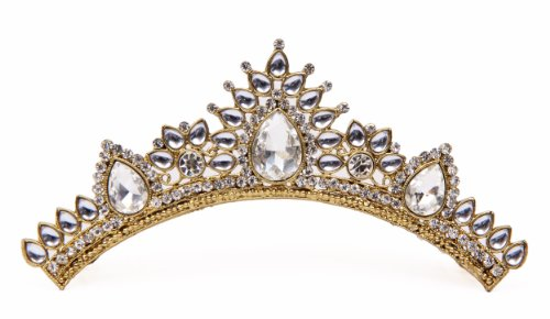 Tiara Crown Christmas Fashion gifts for Women, Costume Jewelry Prom Queen Bridal Pageant Birthday Princess Headband Gold Diamonds Comb Pin Rhinestone Faux Crystal (WHITE BEAUTY) -