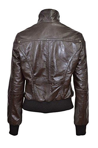 «Fusion» Mesdames BROWN WASHED Short Bomber Biker Style de Moto Veste en cuir
