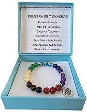 Pulsera de los 7 Chakras de Cuarzo Natural Con dije de OM elastica pulsera Hombre Mujer Yoga Reiki Meditacion Equilibra Chakras