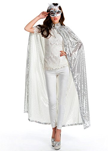 KINGSEVEN Unisex Bling Hooded Cape Shiny Cloak Role Cosplay Halloween Christmas Party Costumes