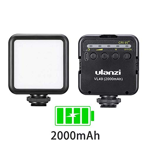 ULANZI VL49 2000mAh LED Video Light w 3 Cold Shoe, Rechargeable Soft Light Panel for DJI OSMO Mobile 3 Pocket Zhiyun Smooth 4 Sony RX100 VII Canon G7X Mark III A6400 6600 Camera GoPro 8 7 6 5 Vlogging from ULANZI