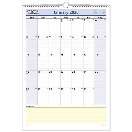 AT-A-GLANCE 2020 Monthly Wall Calendar, QuickNotes, 12