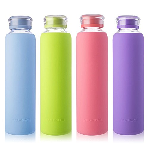 MIU COLOR Glass Water Bottles, for Beverage, Drinking, Juice Bottle, Milk Container, to Go Sports, 16 oz, BPA - Glasses Bubblegum