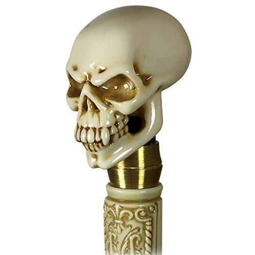 (Lighting Vampire Skull Head Walking Stick Cane Knob Handle Steampunk Halloween accessorie Black Wooden Shaft Goth Style)