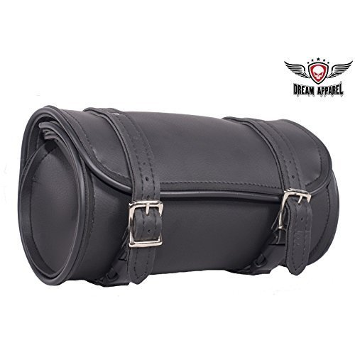 Plain Tool Bag - 10 Inch Plain PVC Motorcycle Tool Bag with Two Roller Buckle Straps