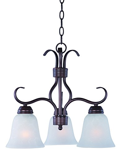 Pendant Basix 3 Light (Maxim 10122ICOI Basix 3-Light Chandelier Down Light Chandelier, Oil Rubbed Bronze Finish, Ice Glass, MB Incandescent Incandescent Bulb , 60W Max., Dry Safety Rating, Standard Dimmable, Metal Shade Material, Rated Lumens)