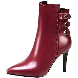 Calaier Womens QZZXCV Zippers 9CM 1 Boots Shoes, Red, 8.5 US